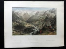 Allom 1840 Hand Col Print. Cauterets, in the Pyrenees. France